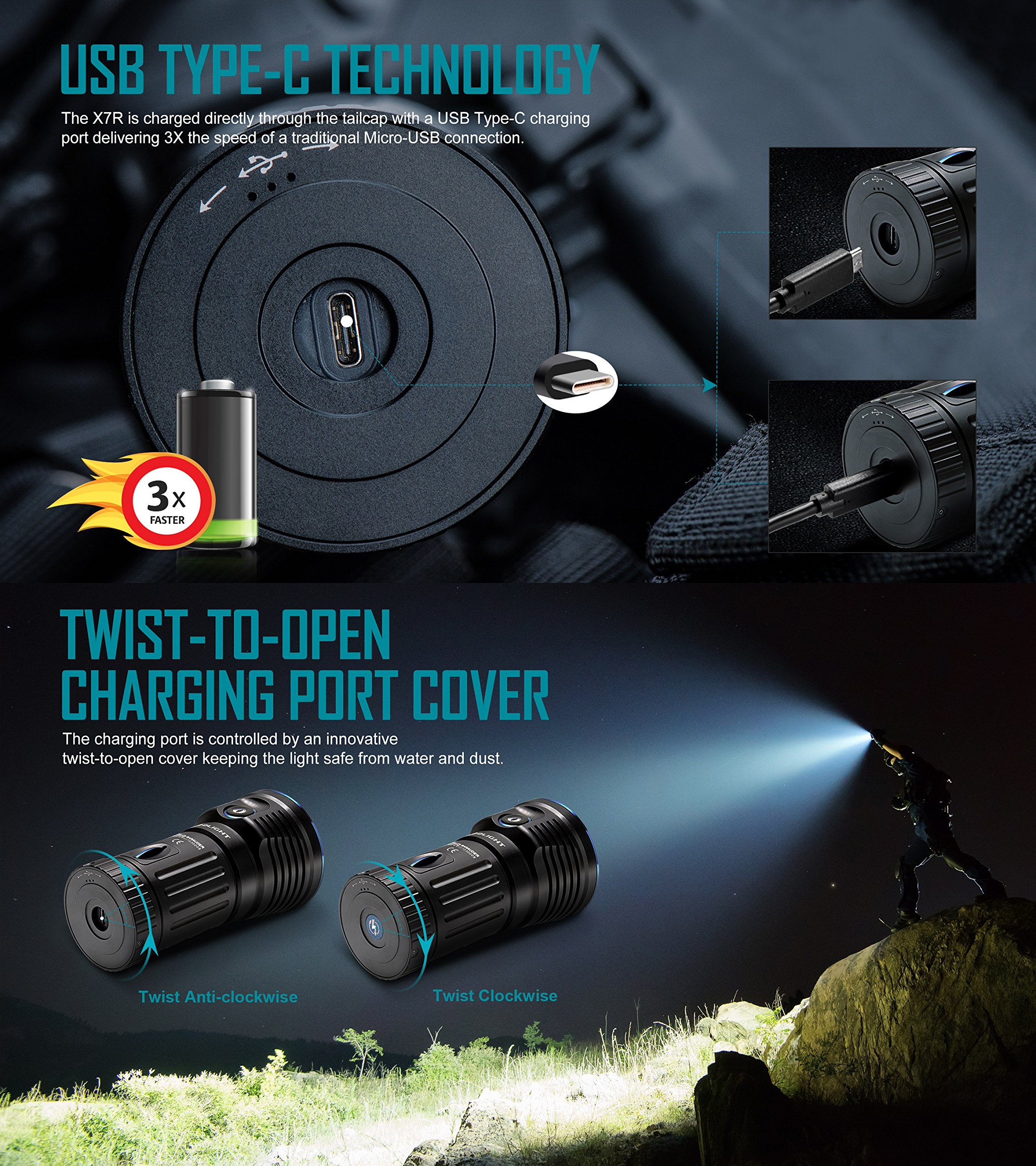 Olight X7R Marauder 12000 Lumens CREE XHP 70 LED USB Rechargeable Flashlight for Camping,Hunting,Searching,with 4 X 18650 Rechargeable Batteries (Built-in) and SKYBEN Accessory by SKYBEN (Image #3)