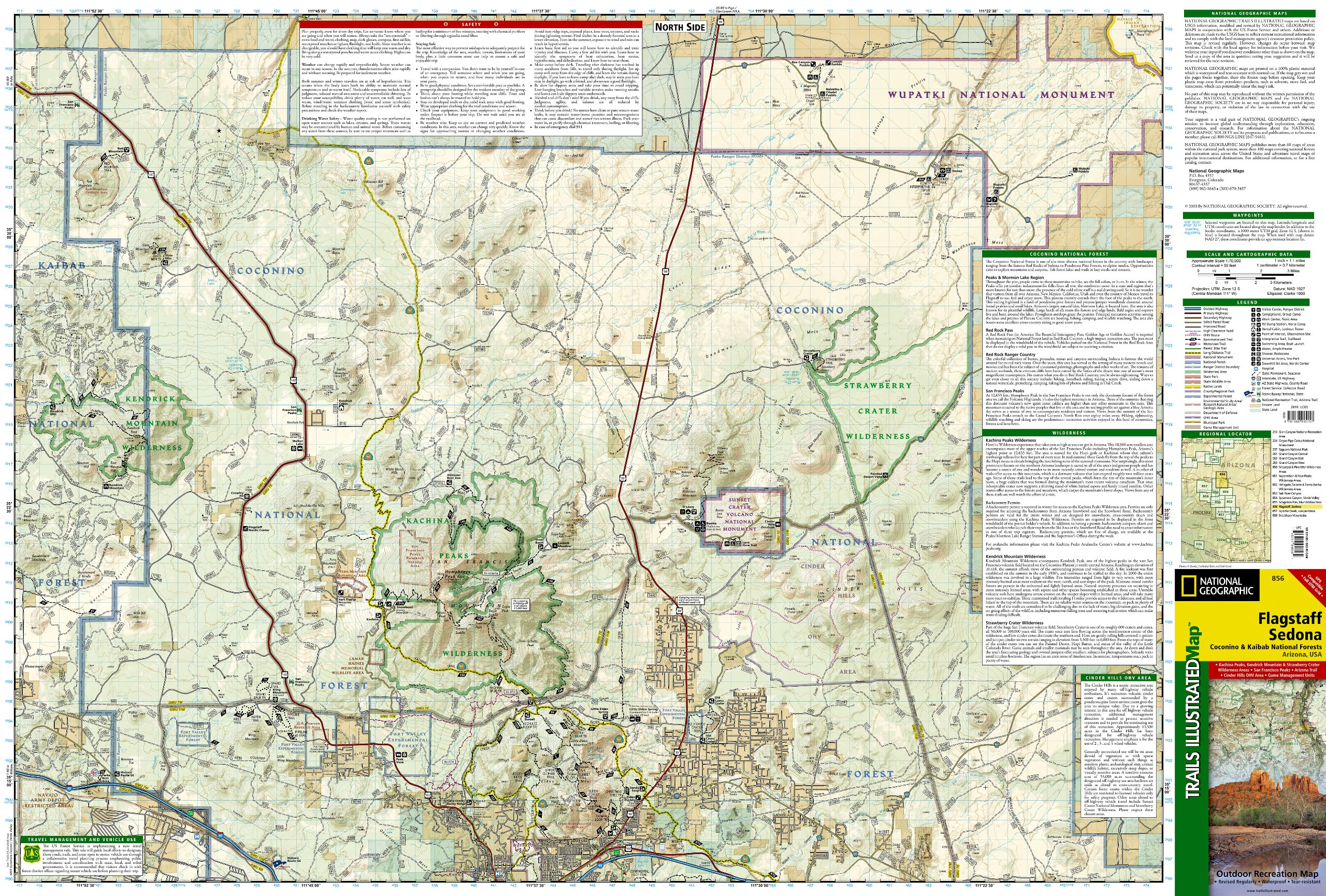 Map Of Flagstaff Arizona.Flagstaff Sedona Coconino And Kaibab National Forests National