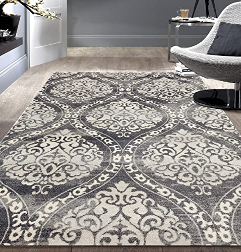 Transitional Floral Damask Area Rug 5 x 7 Gray