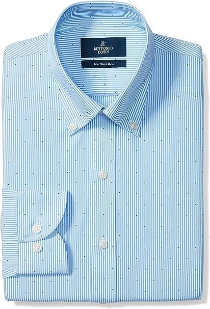 Supima Cotton Non-Iron Brand BUTTONED DOWN Mens Classic Fit Plaid Dress Shirt