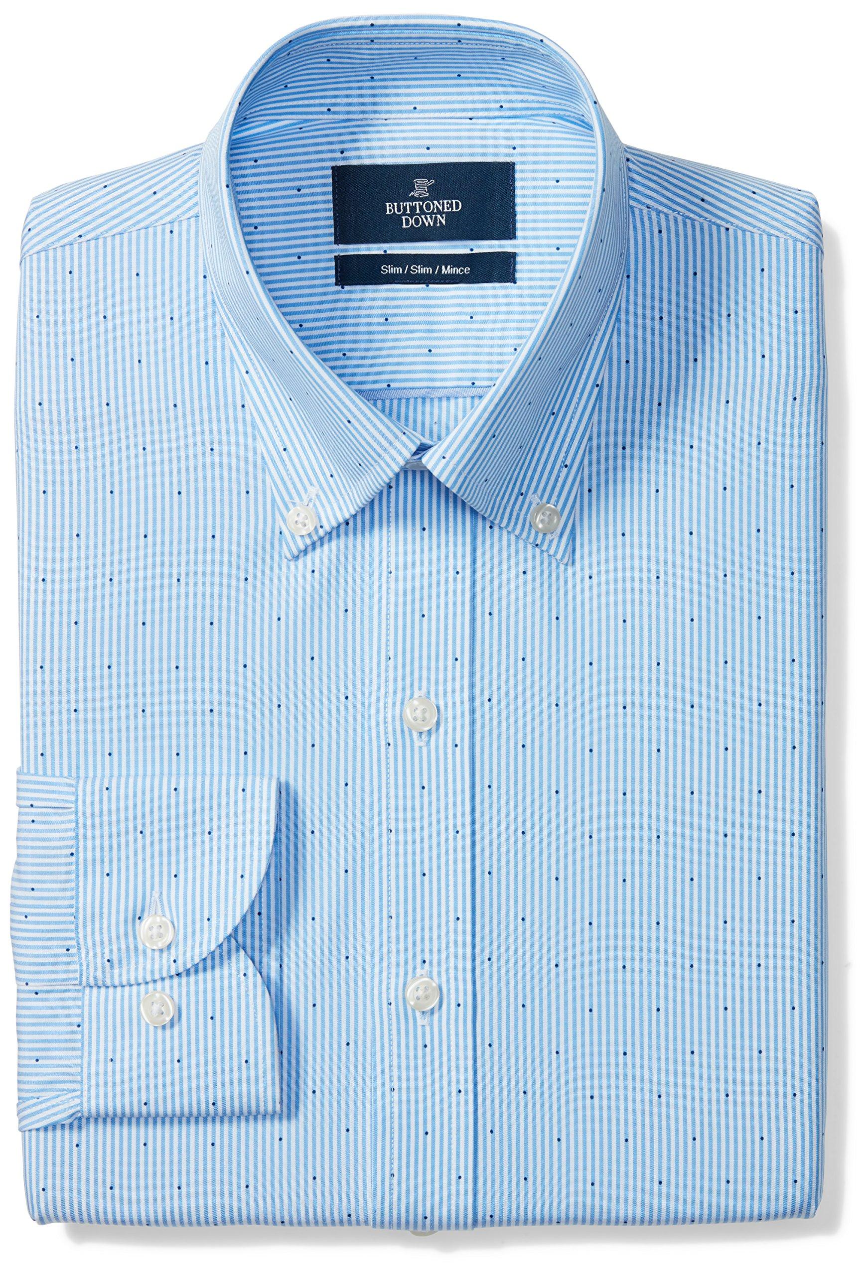 Buttoned Down Men's Slim Fit Button-Collar Pattern Non-Iron Dress Shirt, Light Blue Stripe Dot, 17.5'' Neck 34'' Sleeve