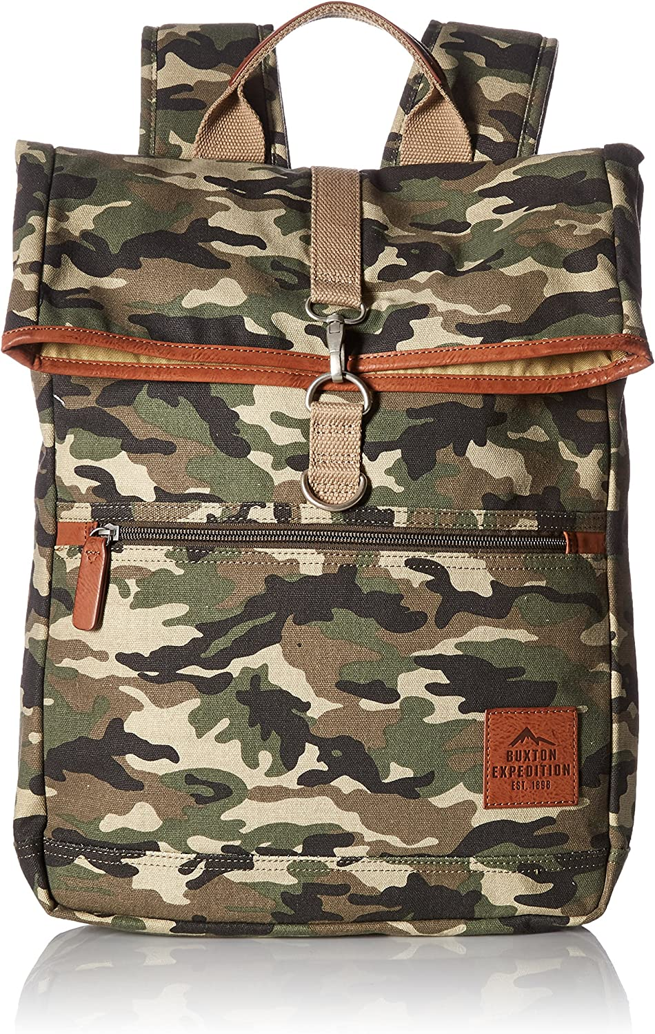 Buxton Men's Expedition Ii Huntington Gear Fold-Over Canvas Backpack, Camo, One Size