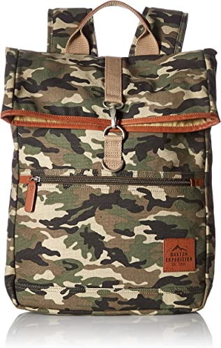Buxton Men s Expedition Ii Huntington Gear Fold-Over Canvas Backpack, Camo, One Size