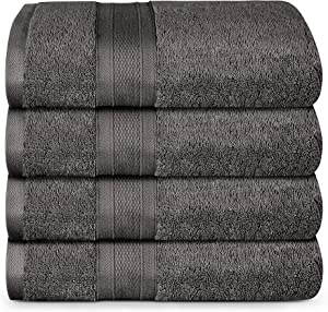 TRIDENT Bath Towels, 4 Piece Bathroom Towels, 100% Cotton, Highly Absorbent Large Bath Towels Set, Super Soft Towels for Bathroom, Soft and Plush, 500 GSM (Charcoal)