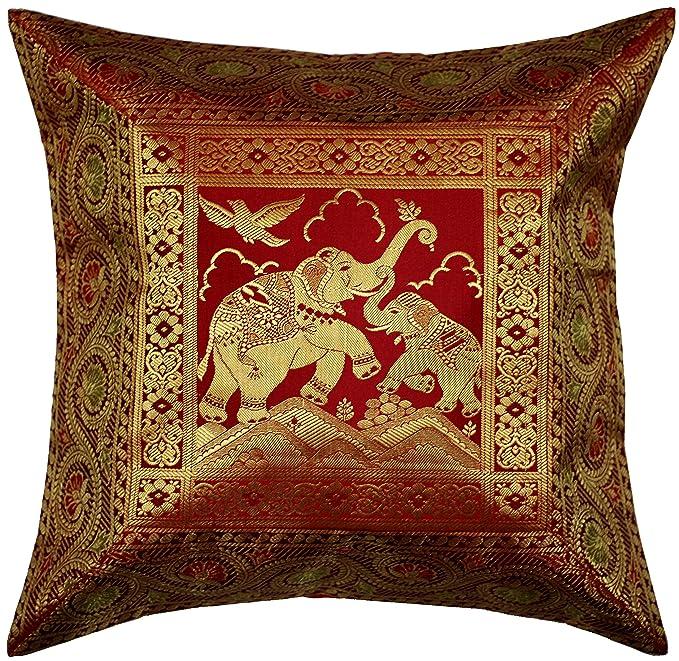 Amazon.com: ANJANIYA 4 Banarsi Funda de cojín de seda ...
