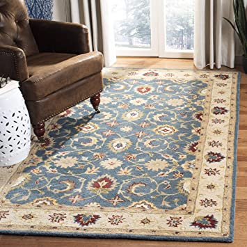 Amazon Com Safavieh Antiquity Collection At15a Handmade Traditional Oriental Premium Wool Area Rug 4 X 6 Blue Beige Furniture Decor