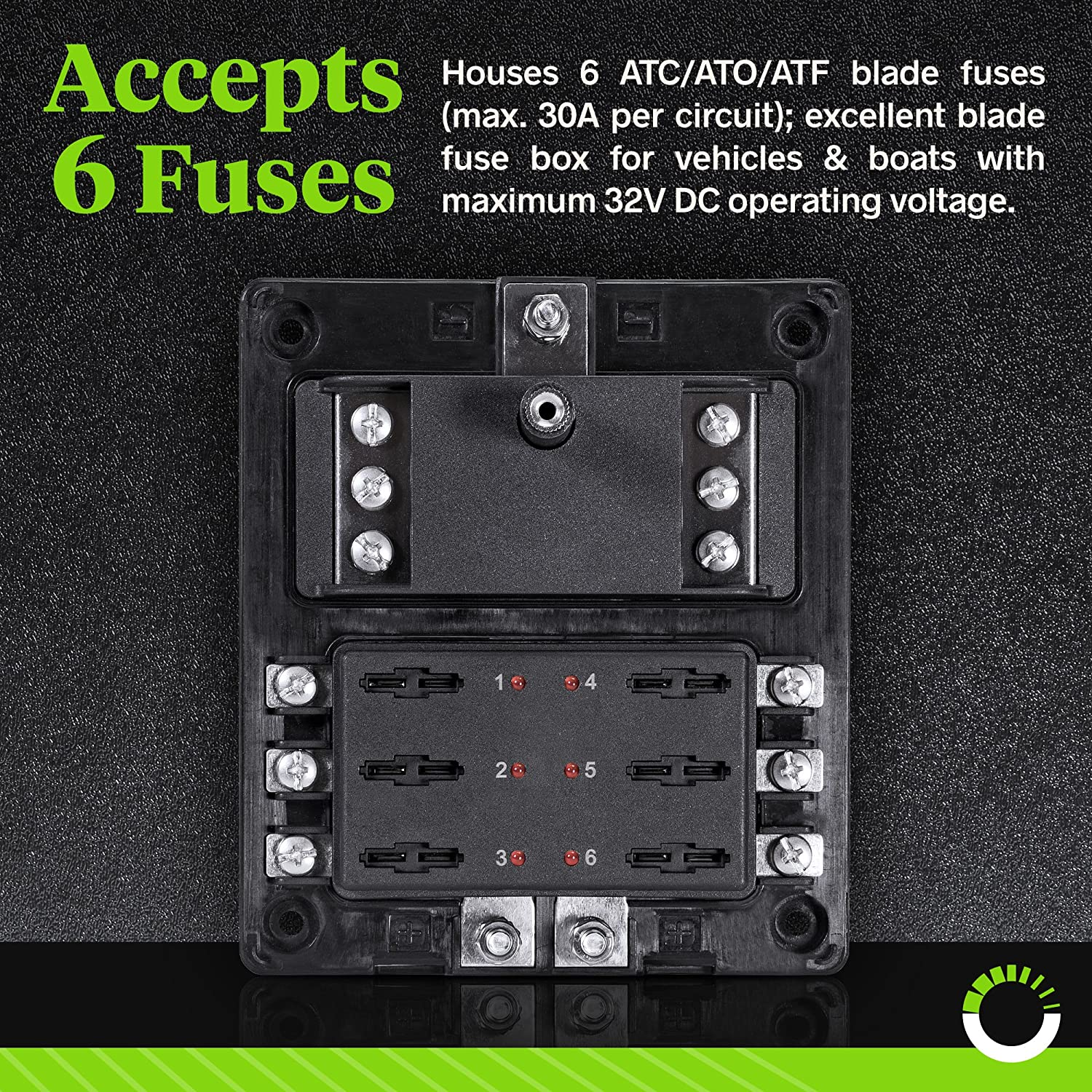 6 Circuit Blade Fuse Block With Thumbscrew Cover Led Way Car Automotive Atc Ato Box Indicator Negative Ground Connections Dual Independent Positive