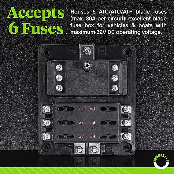 amazon com 6 circuit blade fuse block with thumbscrew cover [ledamazon com  6 circuit blade