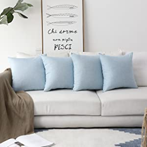 HOME BRILLIANT Burlap Linen Square Throw Pillows Sham Cushion Covers for Kids, Light Blue, 45cm, 4 Pack