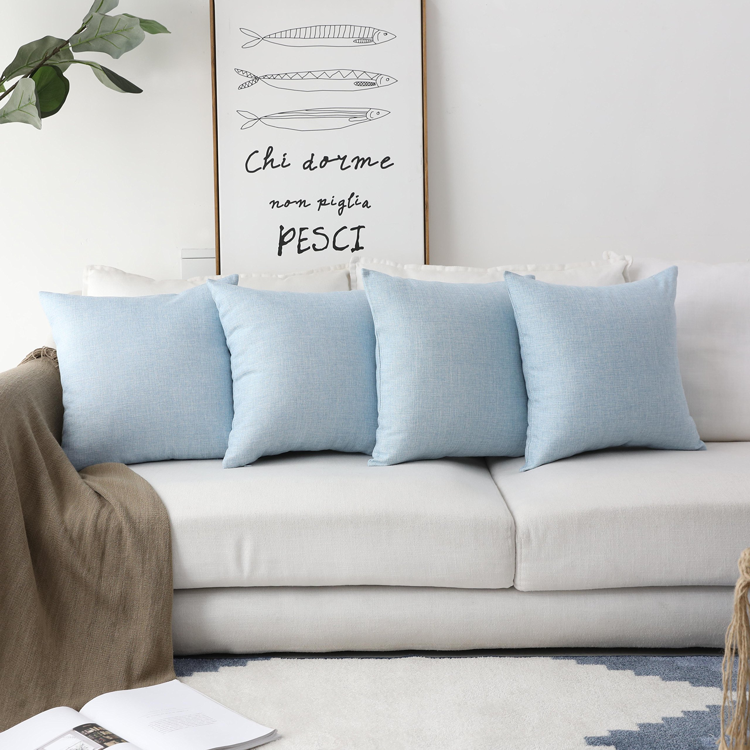 HOME BRILLIANT Supersoft Fuax Linen Square Throw Pillows Sham Cushion Covers for Kids, Light Blue, 45cm, 4 Pack