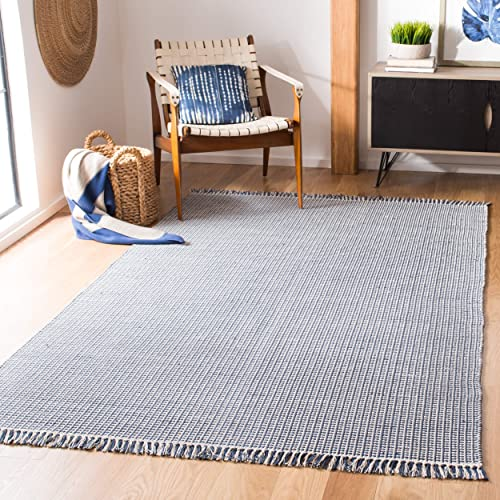 Safavieh Montauk Collection MTK340B Handmade Flatweave Ivory and Navy Cotton Area Rug 8 x 10