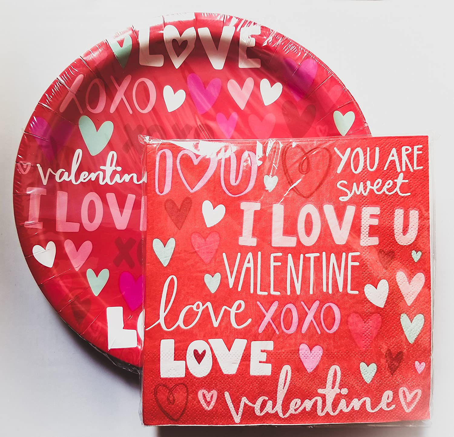 "Red Valentine's Day Paper Plates & Napkins - Party Supplies for 18 Guests (""I LOVE U VALENTINE"")"