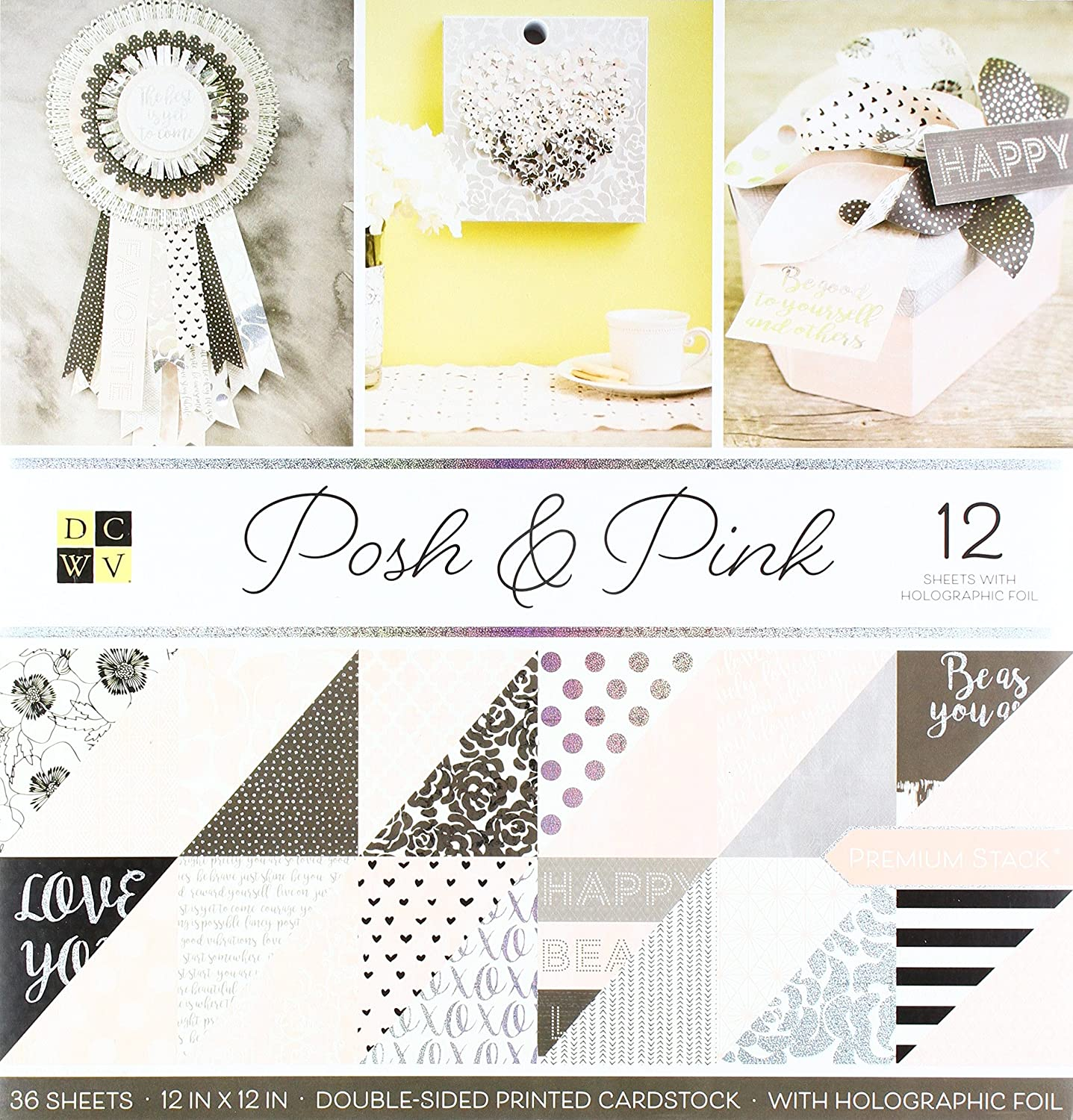 American Crafts 12 x 12 Inch Posh /& Pink Holographic Foil Double Sided 36 Sheets Die Cuts with a View Stacks