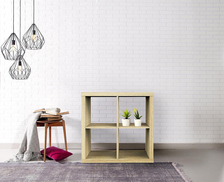 79 x 39 x 78cm White Furniture 247 2-Tier 4-Cube Shelving Unit