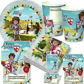 108 Teiliges Party Set * RITTER TRENK * Für Kindergeburtstag Mit 8 Kinder: