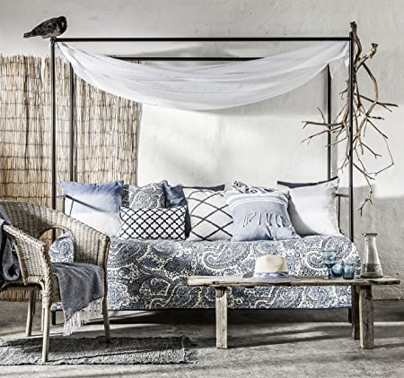 Eightmood Luxury Blue Cornelia Double Bedspread in Printed Paisley ...