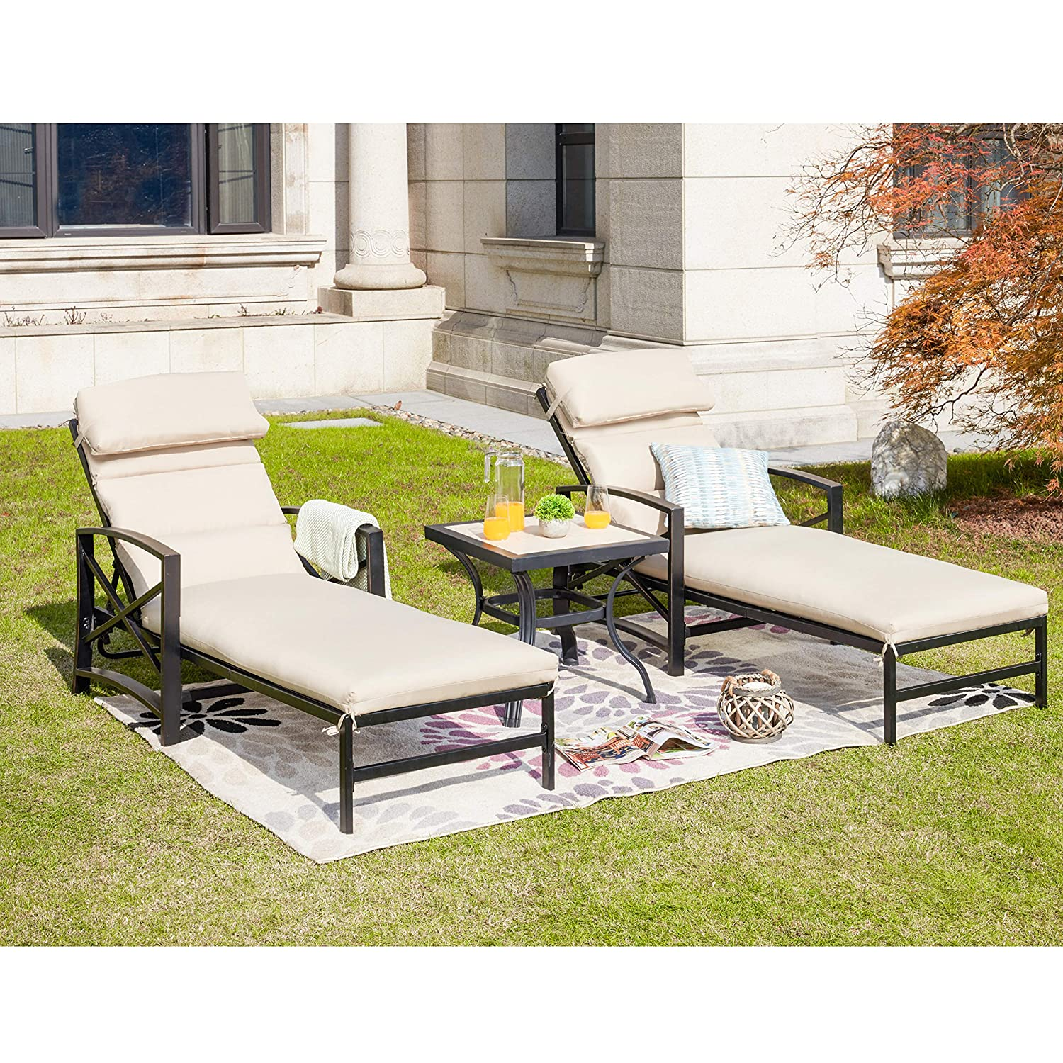 LOKATSE HOME Patio Chaise Lounge Chair Set with Table Outdoor Metal Chairs Furniture, Khaki