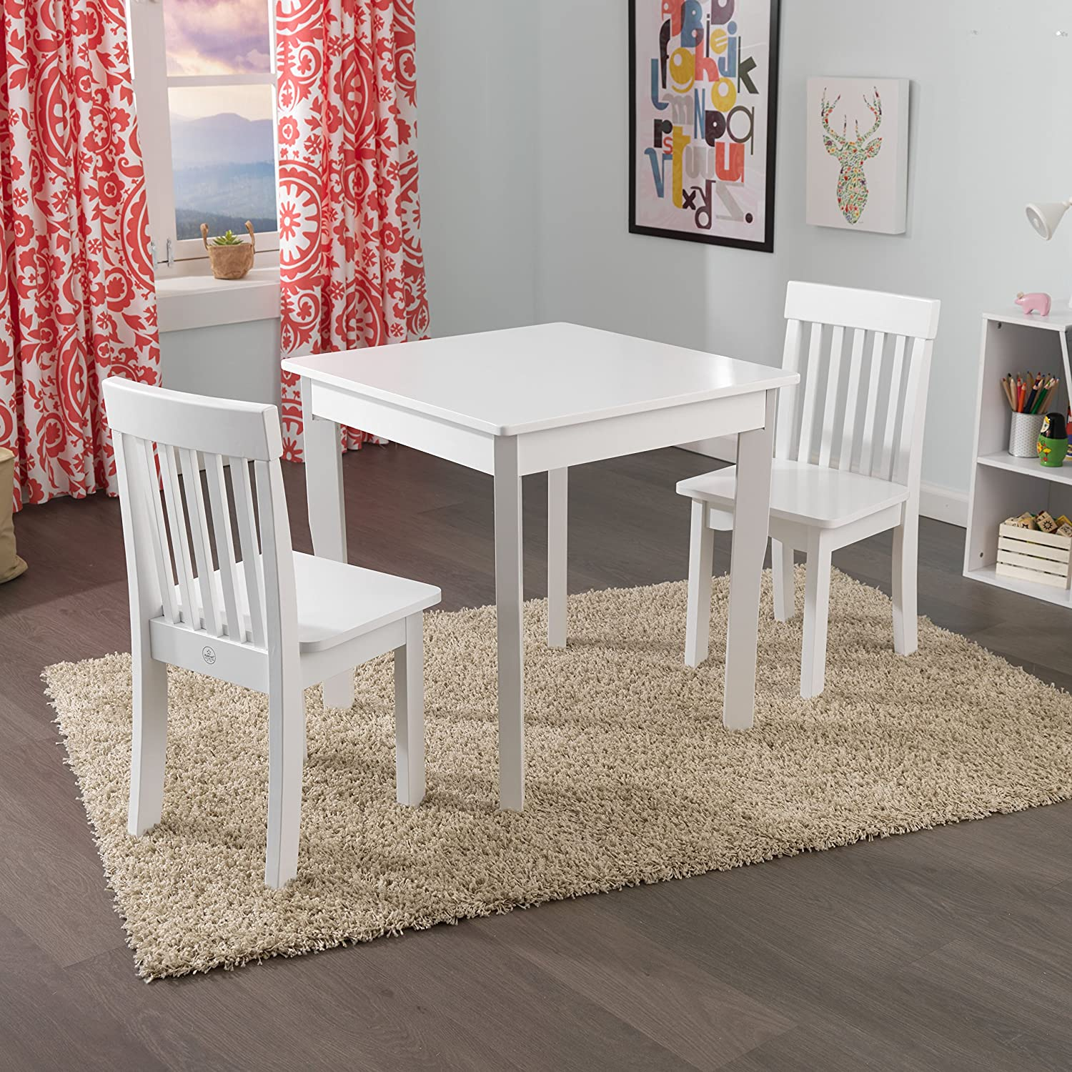 Amazon KidKraft Square Table & 2 Avalon Chair Set White