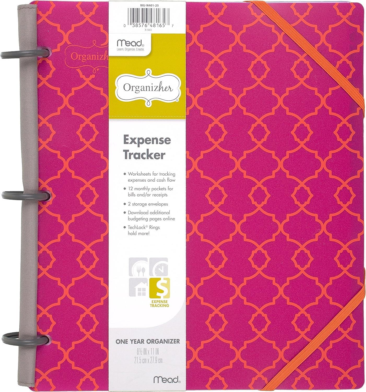 "Mead Organizher Expense Tracker, Budget Planner, Bill Organizer, 8-1/2"" x 11"", Poly, Pink (64049)"