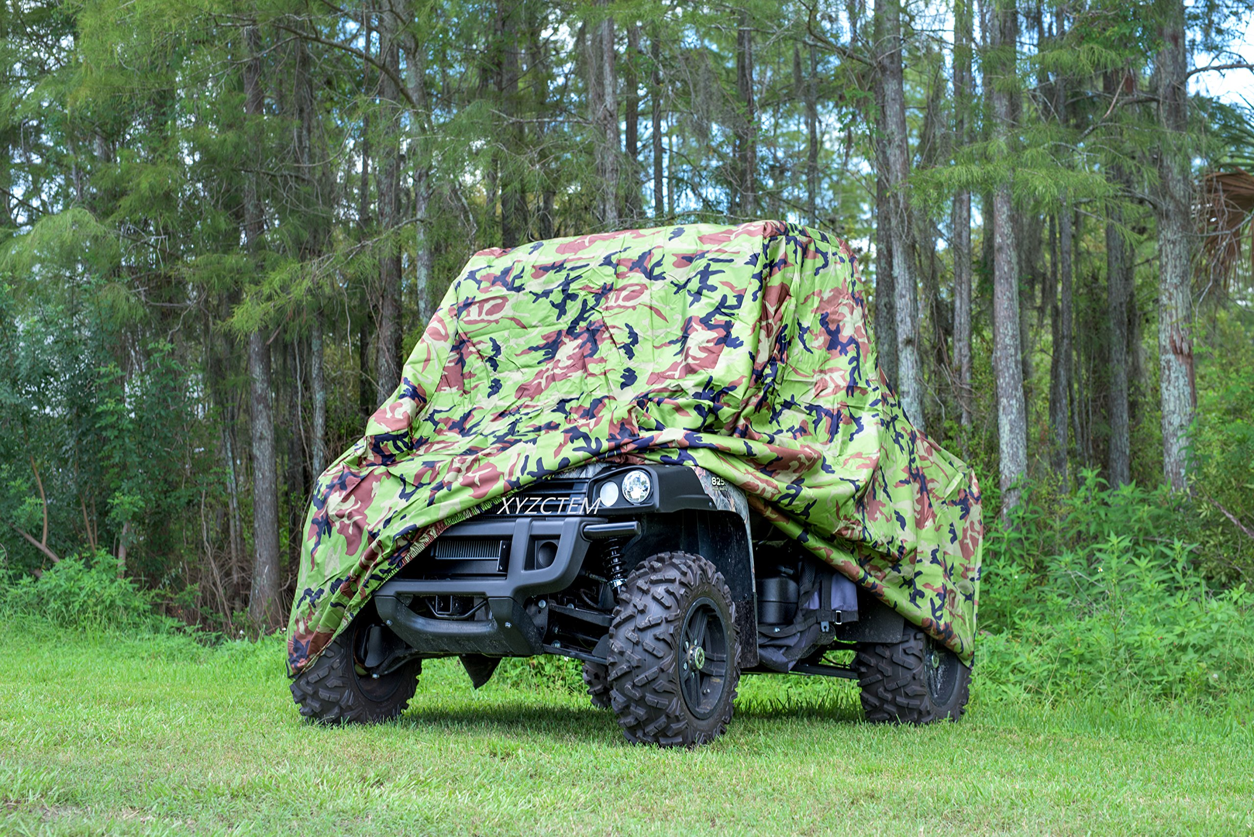 XYZCTEM UTV Cover with Heavy Duty Oxford Waterproof Material, 114.17'' x 59.06'' x 74.80'' (290 150 190cm) Included Storage Bag. Protects UTV From Rain, Hail, Dust, Snow, Sleet, and Sun (Camo) by XYZCTEM (Image #3)