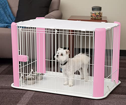 IRIS Small Wire Pet Play Pen with Roof, Pink