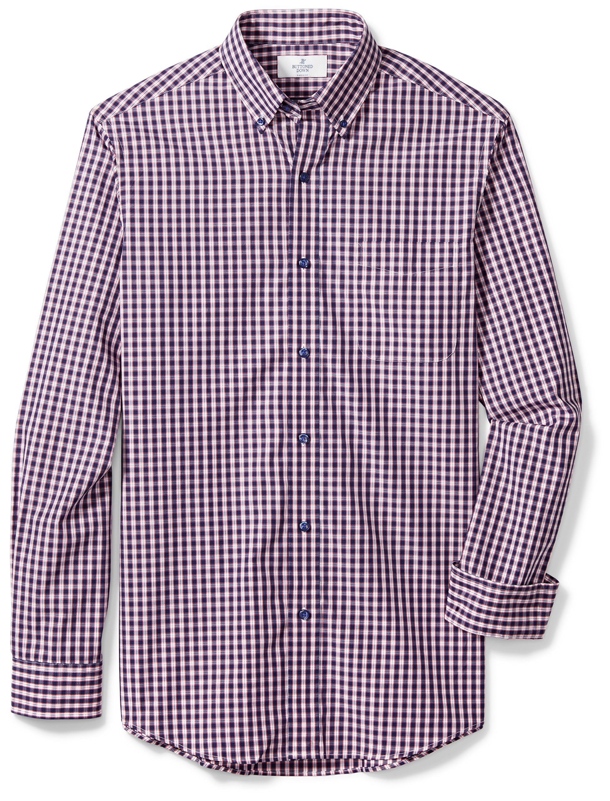 Buttoned Down Men's Classic Fit Supima Cotton Button-Collar Sport Shirt, Navy/Berry Check, L 32/33