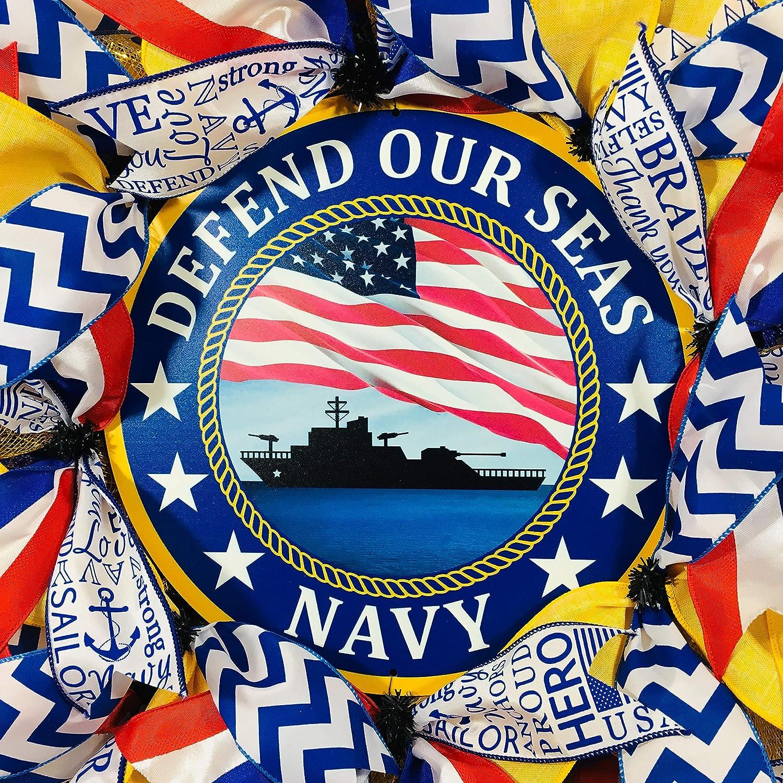 24 Inches Deco Mesh US Navy Wreath