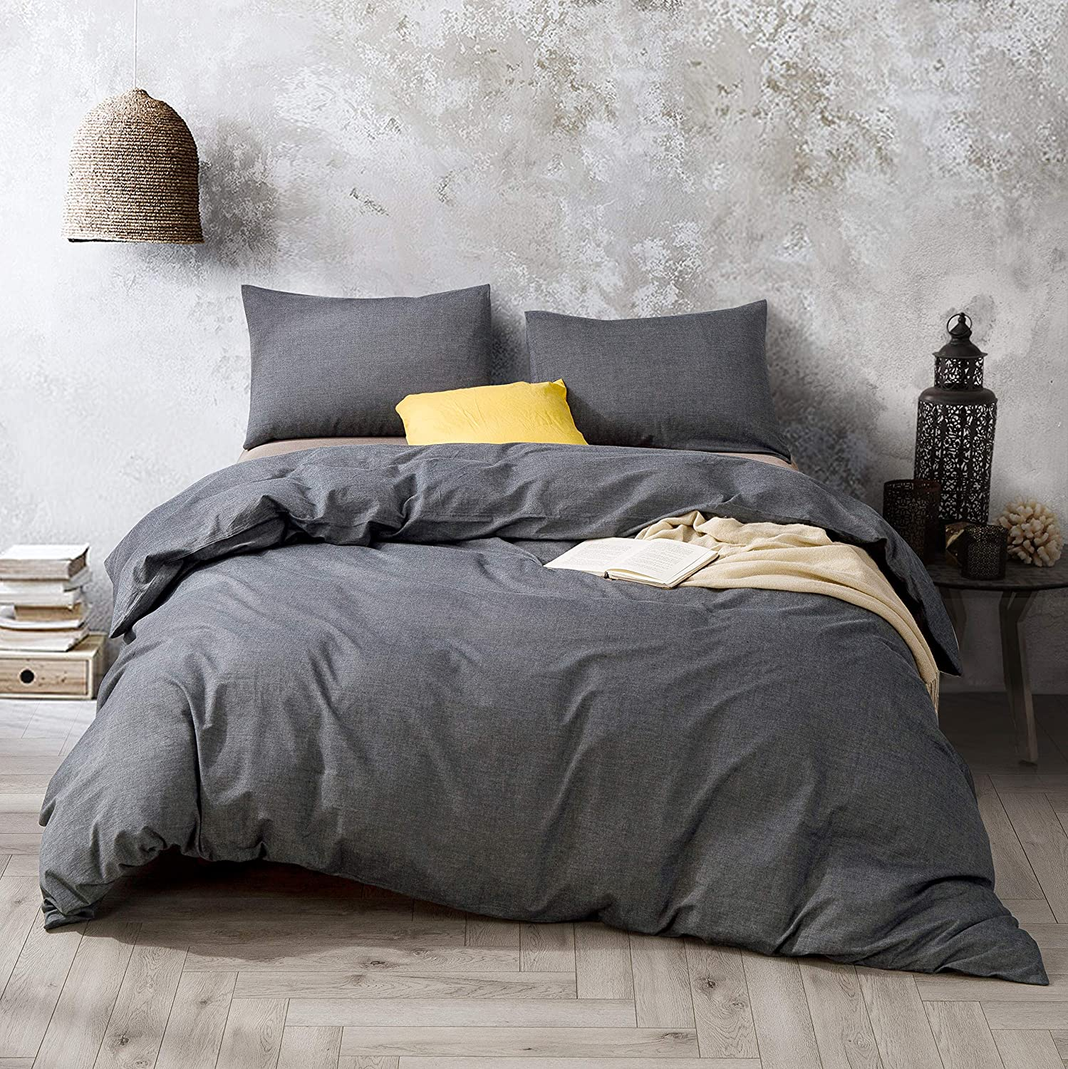 ATsense Duvet Cover King, 100% Washed Cotton, Bedding Duvet Cover Set, 3-Piece, Ultra Soft and Easy Care, Simple Style Bedding Set (Dark Grey 7003-4)