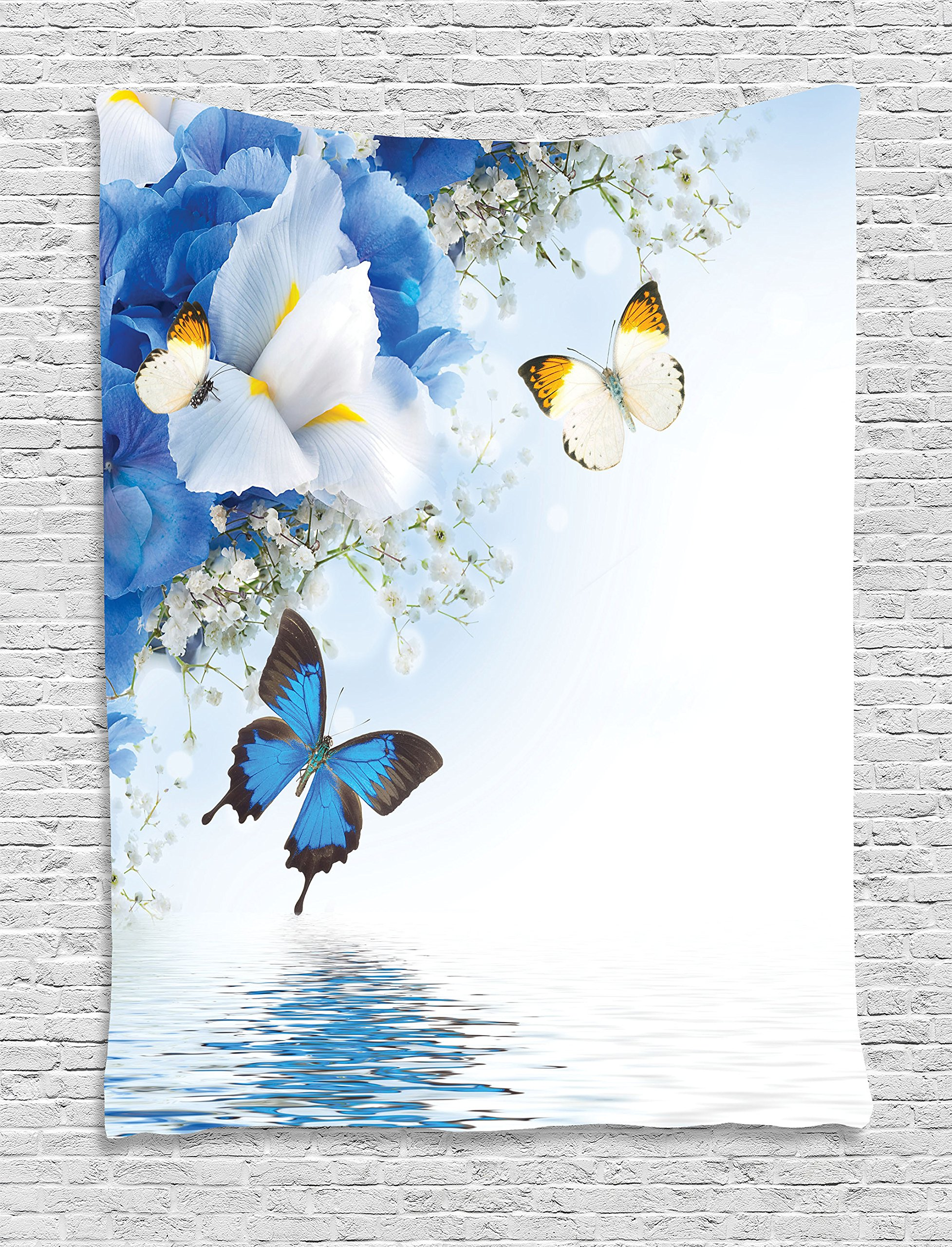 Ambesonne Floral Tapestry, Blue and White Wild Flowers with Monarch Butterflies Lily Therapy Zen Spa Art Prints, Wall Hanging for Bedroom Living Room Dorm, 60 W x 80 L Inches, Light Blue