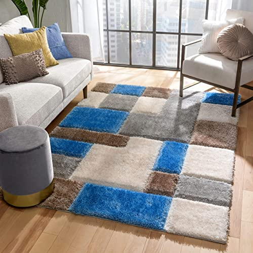 Well Woven Ella Light Blue Geometric Boxes Thick Soft Plush 3D Textured Shag Area Rug 8×10 7'10″ x 9'10″