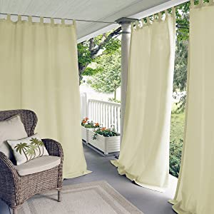 "Elrene Home Fashions Indoor/Outdoor Solid UV Protectant Tab Top Single Window Curtain Panel Drape for Patio, Pergola, Porch, Deck, Lanai, and Cabana Matine Ivory 52""x84"" (1 Panel)"
