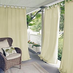 "Elrene Home Fashions Matine Indoor/Outdoor Solid Tab Top Single Panel Window Curtain Drape, 52""x95"" (1), Ivory"