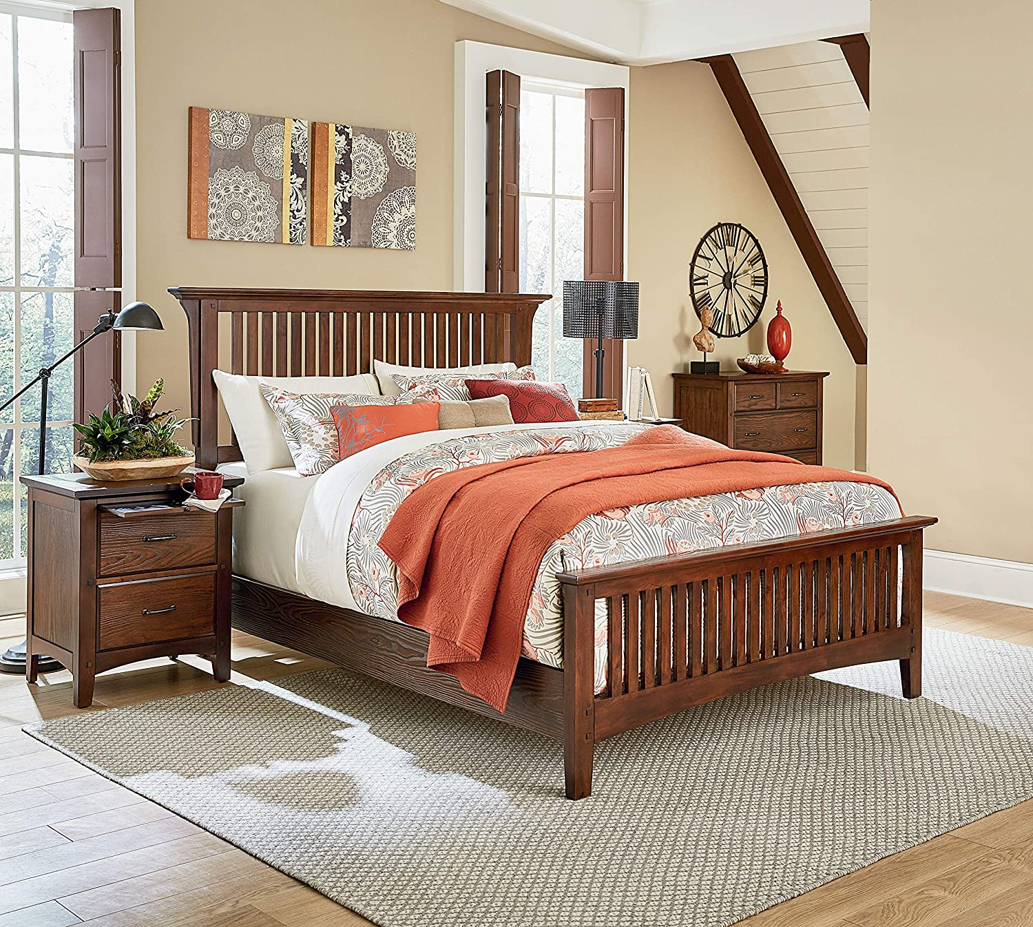 OSP Home Furnishings Modern Mission Vintage Oak Bedroom Set with 2 Nightstands and 1 Chest, Queen