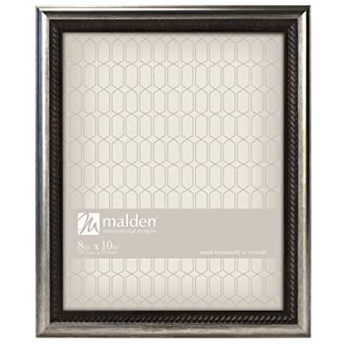 Malden International Designs Classic Mouldings Brentwood Bronze Wave Inner/Outer Picture Frame, 8x10, Silver
