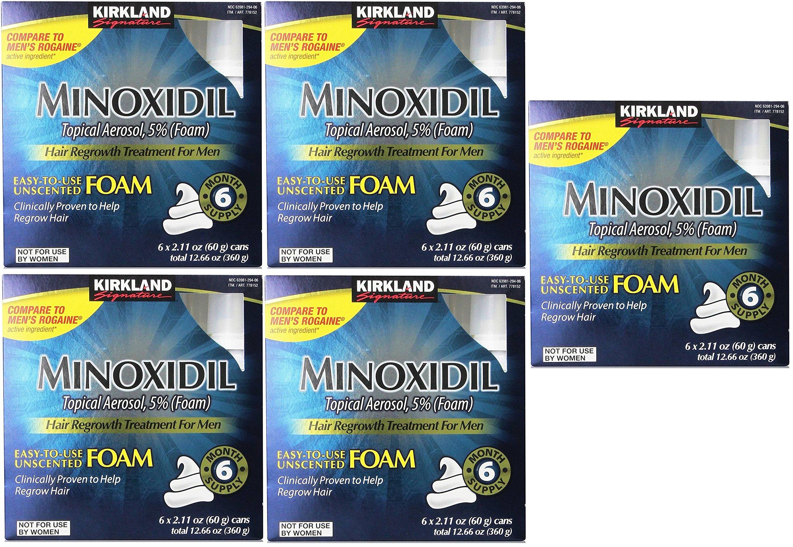 Kirkland Signature SXKUts Minoxidil Foam for Men, 12.6 oz, 6 Month Supply (5 Pack)