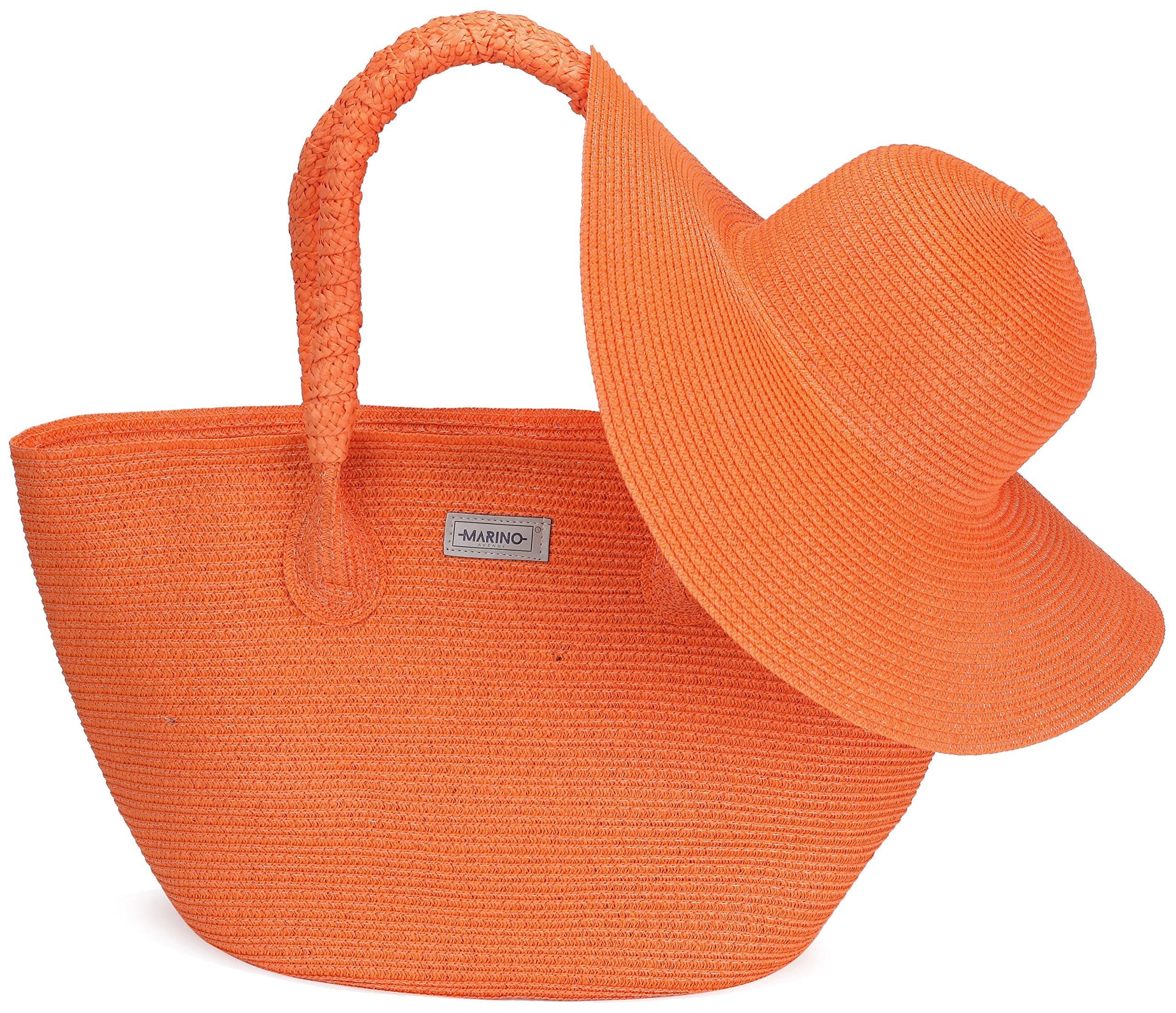 Marino Best Beach Tote Bag and Suns Hat for Women - Floppy Straw Hat and Swimming Bag - Sun Protection Hat UPF 50+ - Orange - One Size