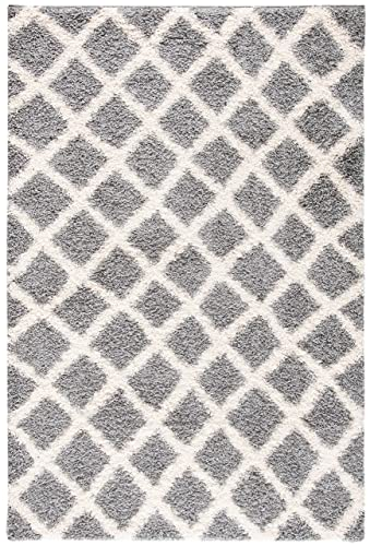 Safavieh Dallas Shag Collection SGDS258G Grey and Ivory Area Rug 6 x 9