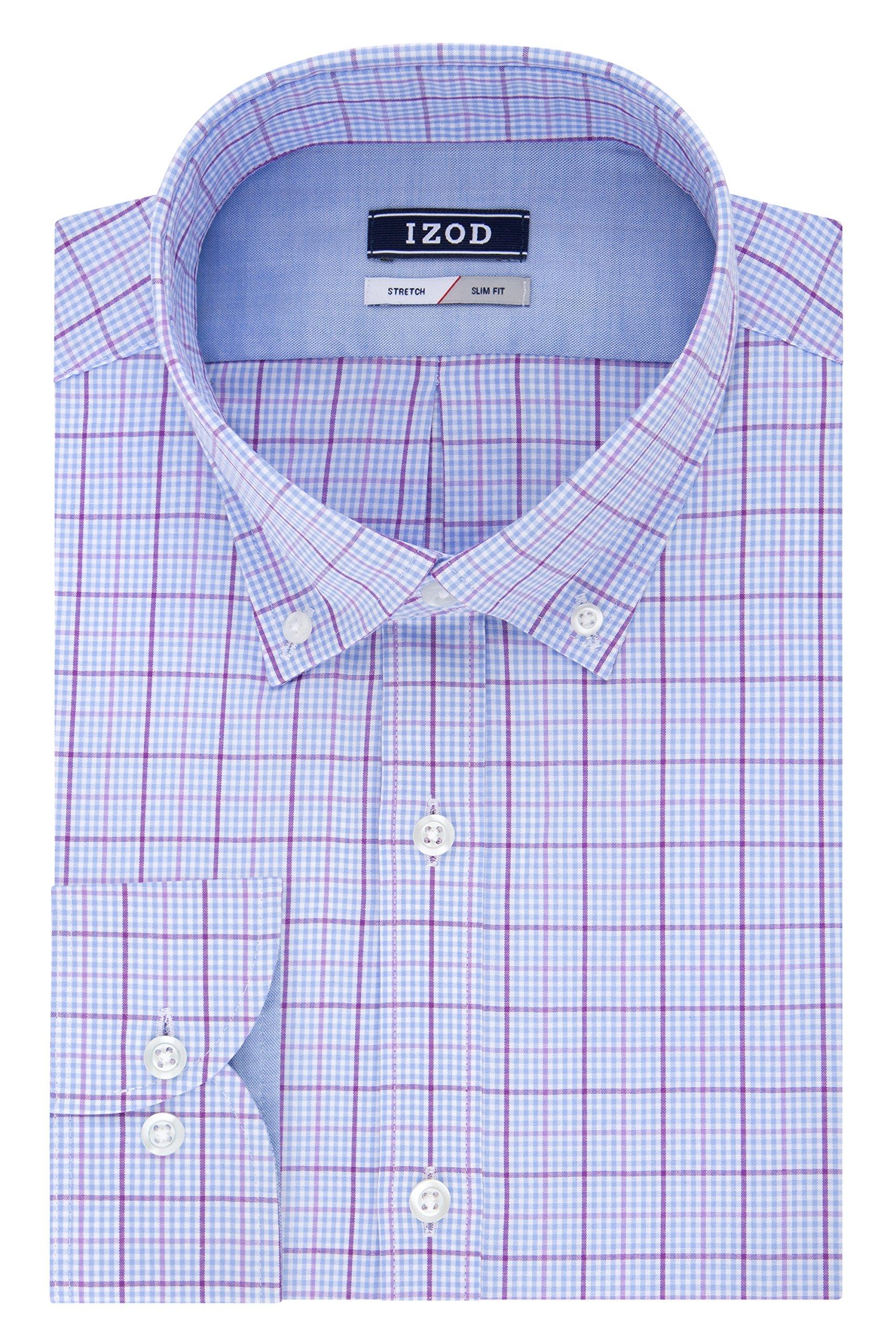 IZOD Men's Slim Fit Check Buttondown Collar Dress Shirt, Blue Stone, 16.5'' Neck 32''-33'' Sleeve