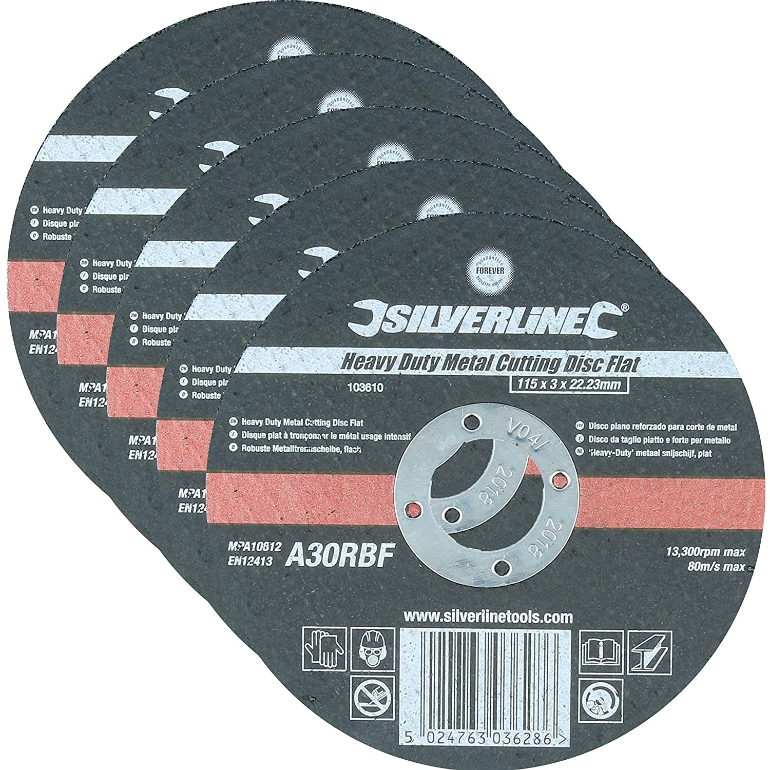 Pack Of 5 Heavy Duty Flat Metal 115mm Cutting Discs | 3mm Thin Angle Grinder Wheels White Hinge