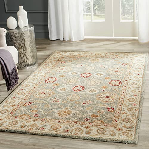 Safavieh Antiquities Collection AT822A Handmade Traditional Oriental Grey Blue and Beige Wool Area Rug 3 x 5