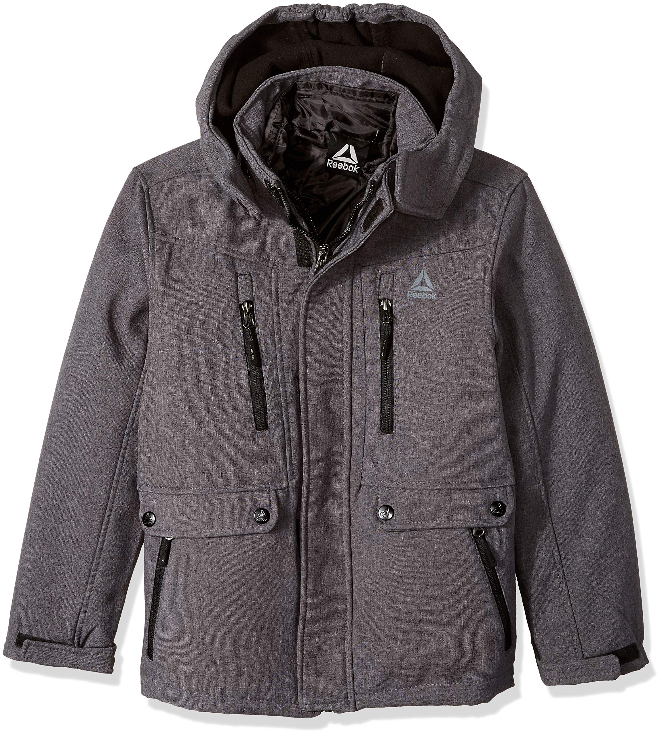 Reebok Boys' Little Active Systems Jacket with Zip Pockets, Charcoal, 7
