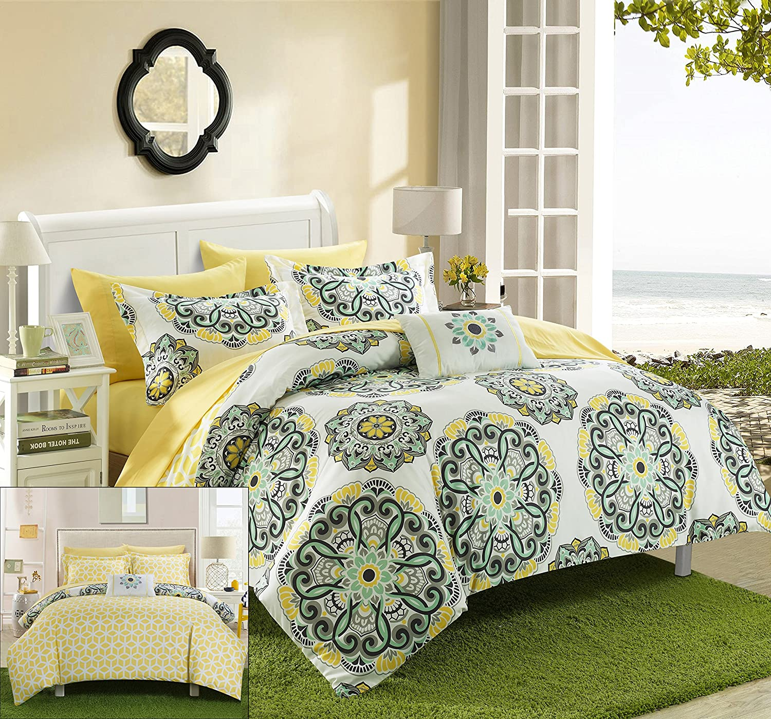 Geometric Backing Bed in a Bag Comforter Set with Sheet, Full/Queen, Yellow