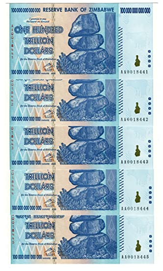 Zimbabwe 100 Trillion Dollar x 5 EXTREMELY LOW Serial AA001