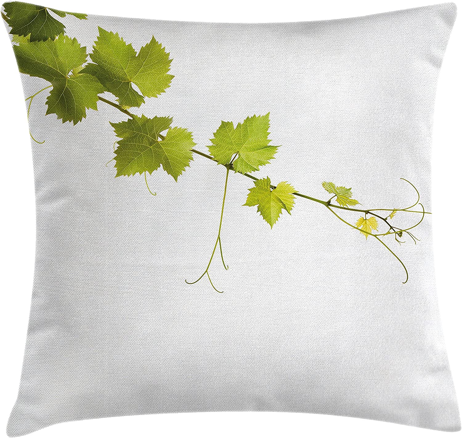 Lunarable Vineyard Throw Pillow Cushion Cover Vine Leaves On The Branch Agriculture Outdoor Vignette Mediterranean Nature Eco Food Decorative Square Accent Pillow Case 40 X 40 Green Home Kitchen