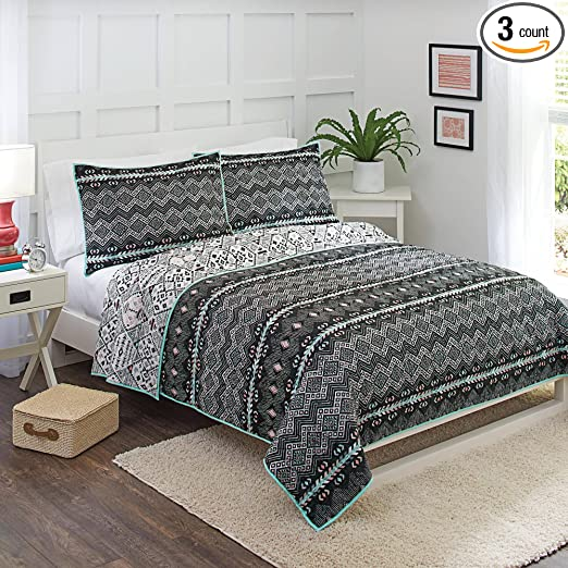 Amazon.com : Better Homes And Gardens Onyx Aztec King Bedding Quilt And 2  Shams : Sports U0026 Outdoors