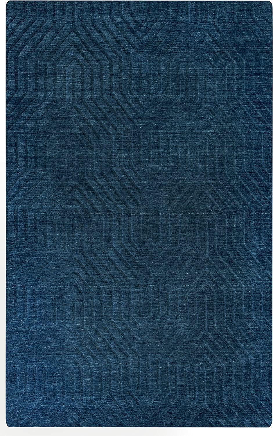 """Rizzy Home Technique Collection Wool Area Rug, 2'6"""" x 8', Navy Solid"""