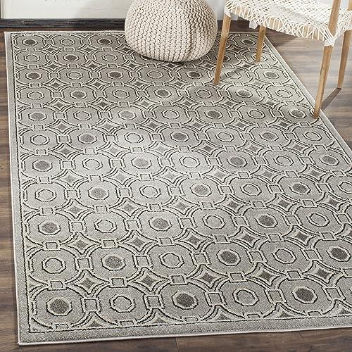 Safavieh Amherst Collection AMT431B Geometric Area Rug, 4 x 6 , Light Grey Ivory