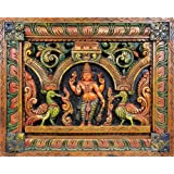 Exotic India Bhagawan Vishnu (Wall Hanging Carved in Relief) - South Indian Temple Wood Carving