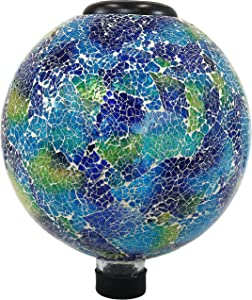 Sunnydaze Garden Gazing Globe with LED Solar Light, Crackled Glass Azul Terra Design, Outdoor and Landscape Decor, 10-Inch