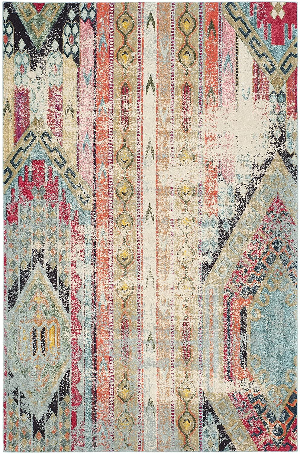 Colorful distressed bohemian area rug with pinks and blues
